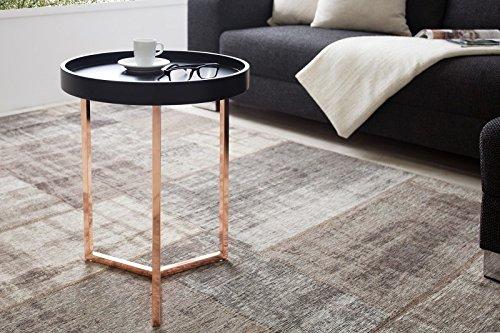 DuNord Design Beistelltisch Couchtisch TRITON 40cm schwarz kupfer Retro Design Tablett Tisch