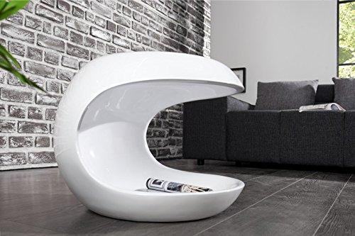 DuNord Design Beistelltisch Couchtisch weiß hochglanz modern TORSION Glasfaser Retro Design Tisch