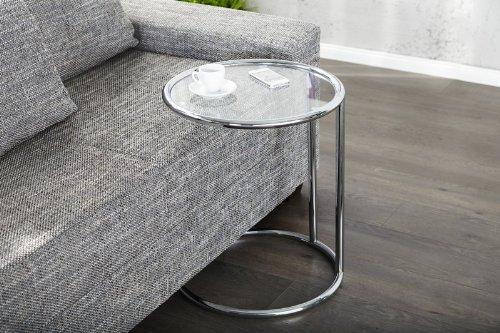 DuNord Design Beistelltisch PLATE Art Deko Glas / Chrom