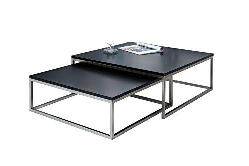 DuNord Design Couchtisch Beistelltisch 2er STAGE schwarz matt Chrom gebürstet Design Tisch Set