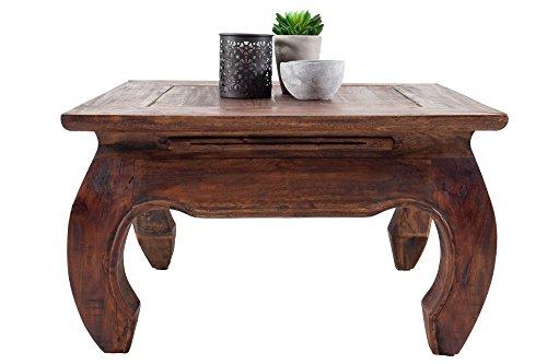 DuNord Design Couchtisch Beistelltisch OPIUM Mahagoni Massiv 60cm Retro Antik Tisch Shabby