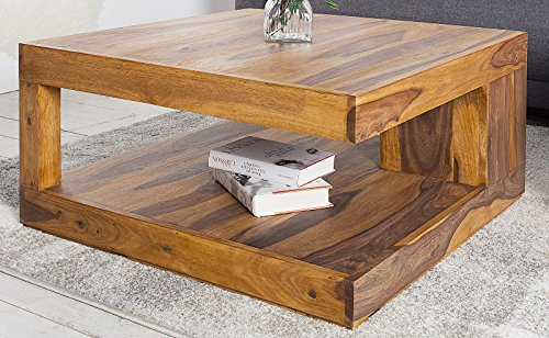DuNord Design Couchtisch GOA Palisander Massivholz Tisch massiv natur Honey 80cm x 80cm
