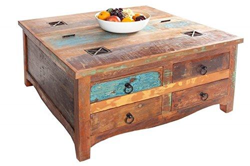 DuNord Design Couchtisch Truhenmöbel MADRAS 70cm Truhe Recycling Massivholz Vintage Handarbeit