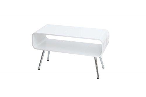 DuNord Design Couchtisch modern TV Board NEW RETRO 90cm weiß chrom Retro Design Wohnzimmertisch