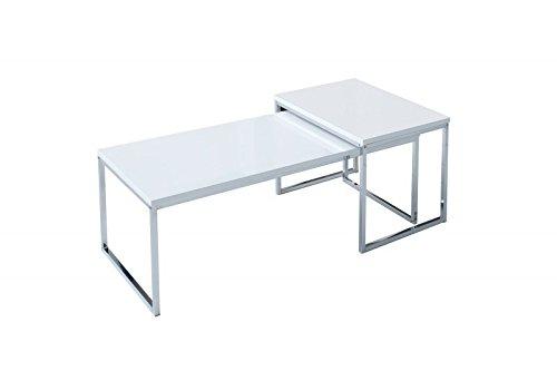 DuNord Design Couchtisch weiß modern Beistelltisch STAGE LONG 2er Set chrom Design Tisch Set