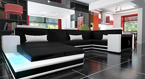 Ecksofa Sofa Couch München Leder Sofa Schwarz-Weiß …