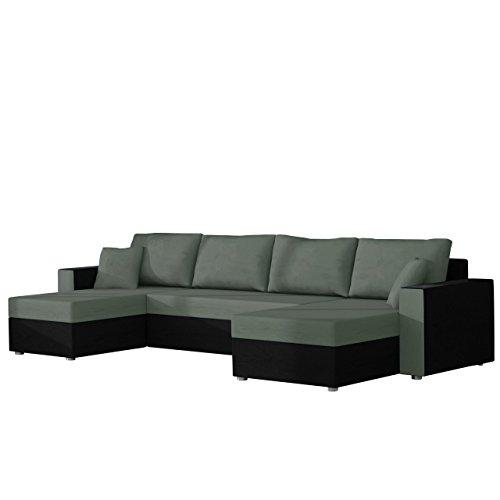 Ecksofa Sofa Couchgarnitur Couch Rumba Style! Wohnlandschaft mit Schlaffunktion und Bettkasten, Ecksofa in U-Form, Polstermöbel, Farbauswahl, Kissen-set