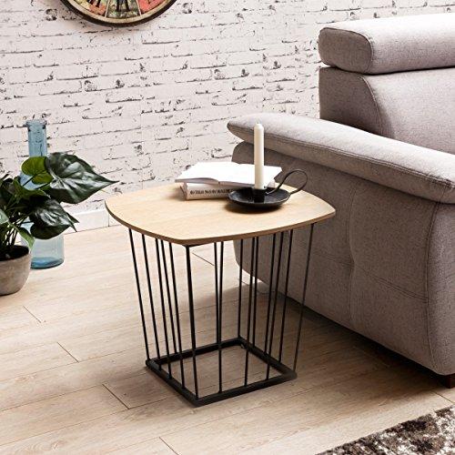 FineBuy Beistelltisch SCANIO Retro Design MDF-Holz Eiche 50 x 45 x 50 cm | Wohnzimmertisch mit Metall-Gestell | Ablagetisch Anstelltisch flach