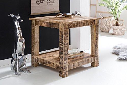 finebuy couchtisch rusti massiv holz mango natur landhaus stil wohnzimmertisch rustikal. Black Bedroom Furniture Sets. Home Design Ideas