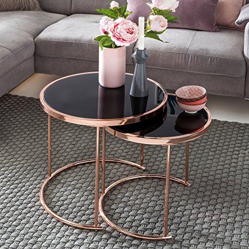 FineBuy Design 2er Set Satztisch ø 42 cm / 45 cm Metall Glas schwarz / kupfer | Beistelltisch verspiegelt Wohnzimmertisch modern | Glastisch Kaffeetisch rund