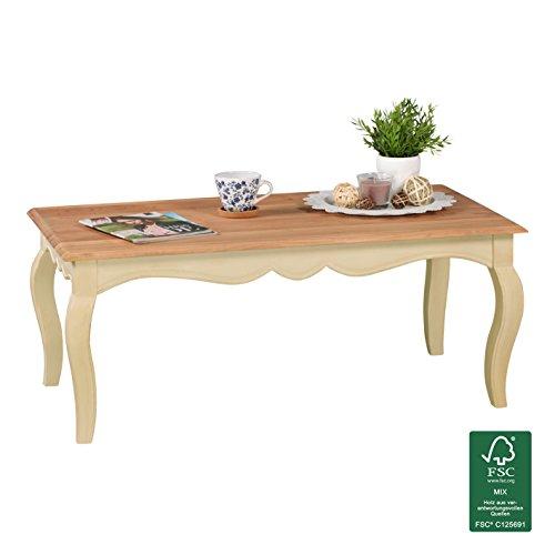 FineBuy Vintage Couchtisch massiv 110 x 60 cm | Wohnzimmertisch aus Mango Massivholz | Opium Beistelltisch rechteckig in Weiß Holz - Französischer Landhausstil