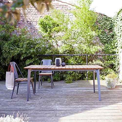 Gartentisch aus grauem Metall und Teak 180x80 cm Tikamoon