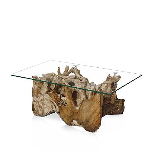 Glas Couchtisch aus Teak Wurzelholz 110 cm Pharao24