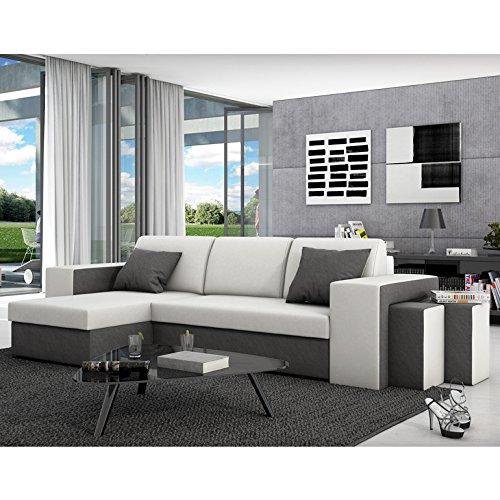 Innocent Ecksofa mit Schlaffunktion aus Kunstleder und Textil grau mit weißer Sitzfläche Milio