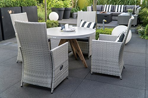 matodi gartengarnitur 5 teilig sitzgruppe polyrattan grau gartenset esstisch rund beton m bel24. Black Bedroom Furniture Sets. Home Design Ideas