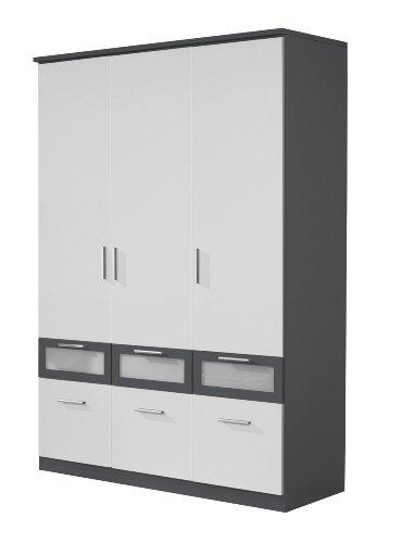 Rauch Kleiderschrank 3-türig Weiß Alpin mit Schubladen, Absetzungen in Grau Metallic Nachbildung, BxHxT 136x199x56 cm