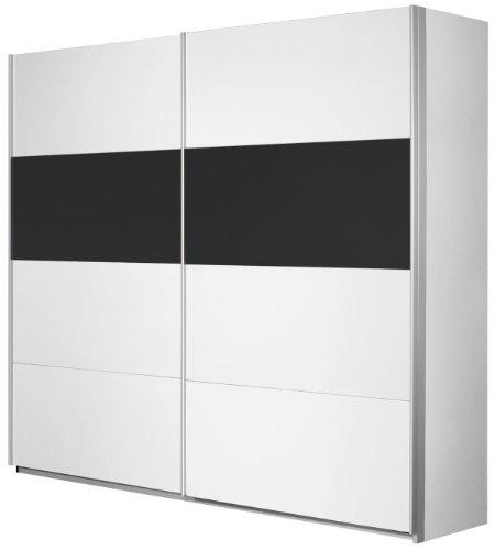 Rauch Schwebetürenschrank Kleiderschrank Weiß Alpin 2-türig, Glaspaneele Schwarz, BxHxT 181x210x62 cm