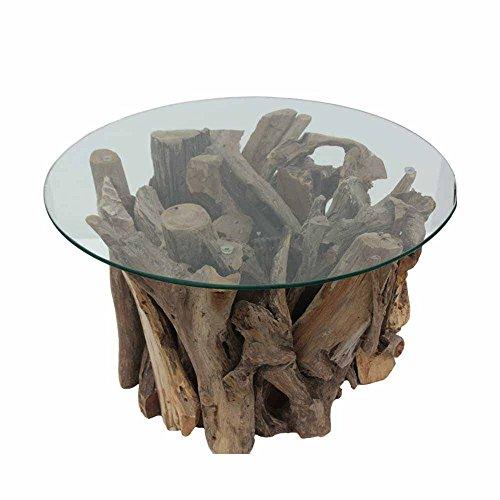 Runder couchtisch aus glas teak wurzelholz pharao24 m bel24 for Runder couchtisch glas