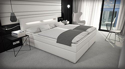 SAM® Design Boxspringbett Savona mit Samolux®-Bezug in weiß, LED-Beleuchtung, Bonellfederkern-Matratze, Box mit Holzrahmen und Nosag-Unterfederung, extra dickem Topper, hochwertigen chromfarbenen-Füßen, optimale Einstiegshöhe, 180 x 200 cm