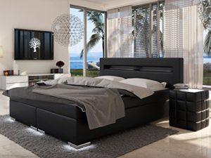 sam design boxspringbett mit samolux bezug in schwarz led beleuchtung an fen kopfteil. Black Bedroom Furniture Sets. Home Design Ideas