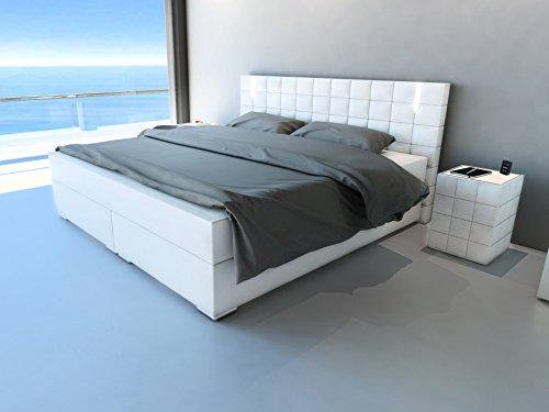SAM® Design Boxspringbett mit Samolux®-Bezug in weiß, LED-Beleuchtung, Bonellfederkern-Matratze, Box mit Holzrahmen und Nosag-Unterfederung, extra dickem Topper, hochwertigen chromfarbenen-Füßen, optimale Einstiegshöhe, 180 x 200 cm [521465]