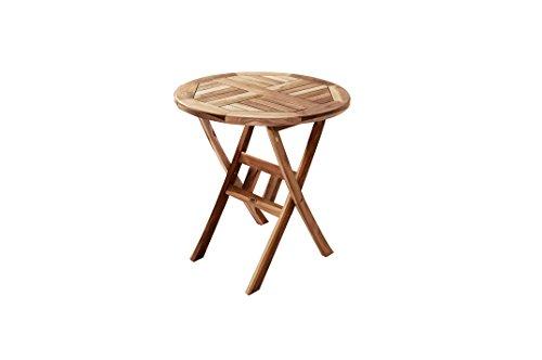 SAM® Teak-Holz Balkontisch, Gartentisch, Holztisch, 60 cm Durchmesser, zusammenklappbarer Tisch, leicht zu verstauen [53262658]