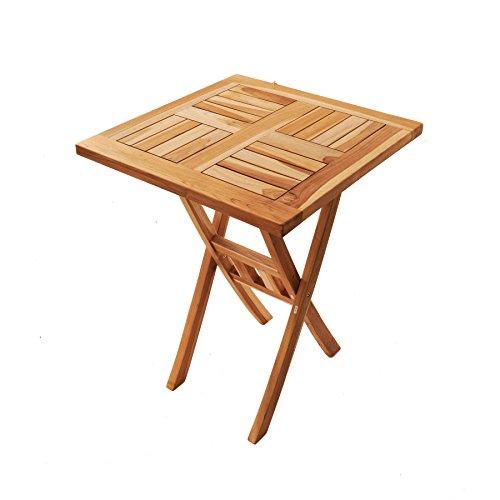 SAM® Teak-Holz Balkontisch, Gartentisch, Klapptisch, Holztisch Square, 60 x 60 cm quadratisch, zusammenklappbarer Tisch aus Massivholz, leicht zu verstauen, ideal für Balkon, Terrasse oder Garten