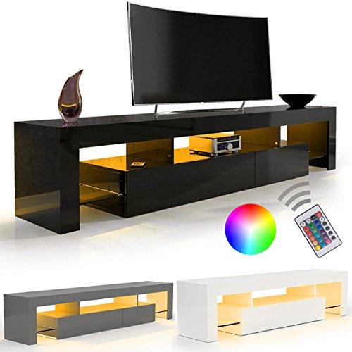 SANZARO TV Lowboard Board Schrank Fernsehtisch HiFi Hochglanz LED Beleuchtung verschiedene Größen Farbwahl