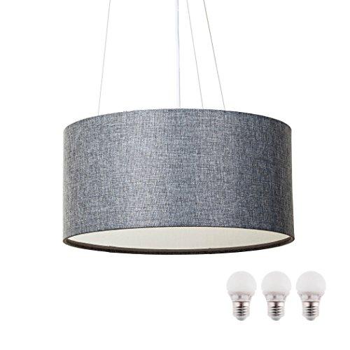 SEBSON Hängelampe Textil, inkl. E27 LED Lampe 5W warmweiß, Leuchte rund
