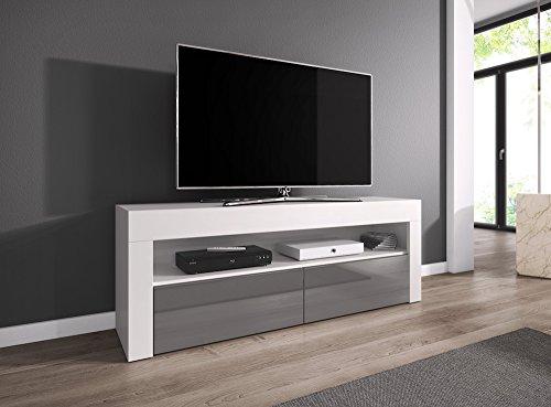 TV-Element TV Schrank TV-Ständer Entertainment Lowboard LUNA 140 cm, Körper weiß matte/Fronten Grau hochglanz