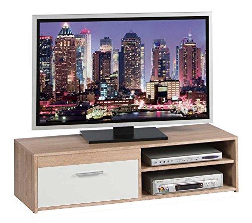 tv lowboard fernsehschrank fernsehtisch genius eiche sonoma wei matt 120x32x38 cm m bel24. Black Bedroom Furniture Sets. Home Design Ideas