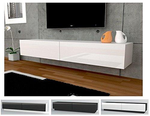 TV Lowboard Hängeboard Tisch Board Schrank mit Hochglanz 180 cm Länge weiß