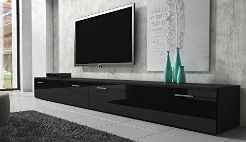 TV Möbel Lowboard Schrank Ständer Boston Korpus Schwarz/Front schwarz hochglanz 300 cm