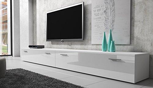 TV Möbel Lowboard Schrank Ständer Boston Korpus weiß/Front weiß Hochglanz 300 cm