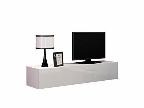 TV Schrank Volt 160, TV Lowboard mit Grifflose Öffnen, Hängeschrank, Fernsehschrank, Hochglanz,Wohnzimmer