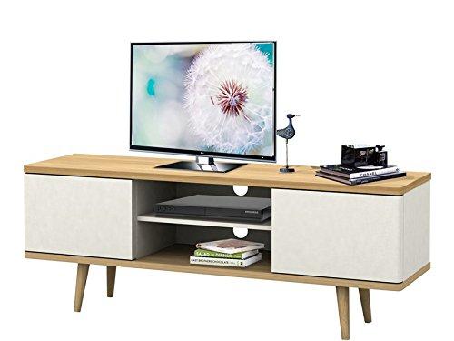 TV-Tisch TV-Board Lowboard Fernsehtisch Fernsehschrank ANNE aus Spanplatte foliert in weiß und eiche, retro design