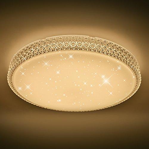 VINGO® Starlight Effekt Design 60W LED Deckenleuchte Sternen mit Kristall Rahmen warmweiß 2700-3000K Φ600*122mm rund modern Lampe Wohnzimmer Deckenbeleuchtung