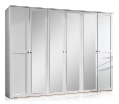 Wimex 985581 Drehtürenschrank 6-türig, 4 Spiegel, 270 x 210 x 58 cm, Landhausoptik, Front und Korpus alpinweiß