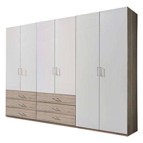 Wimex D06622 Kleiderschrank, Holz, front alpinweiß, korpus und schubkästen eiche sägerau nachbildung, 270 x 58 x 210 cm