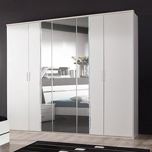Wimex Kleiderschrank 739566 Paradise, Weiß, Abs. Strasskristall, Aufleistung Chrom glänzend, 225 cm Breite, PIRA166