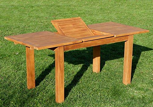 Wuchtiger TEAK BIGFOOT Ausziehtisch Gartentisch 130-180x80 Holztisch Teaktisch Garten Tisch Holz JAV-EXT-BIGFOOT130-180 von AS-S