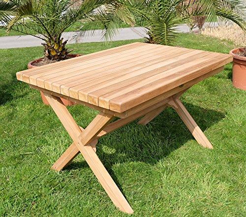 Wuchtiger TEAK Designer Tisch Holztisch Gartentisch Garten Tisch 120x90cm Holz geölt Modell RIO von AS-S