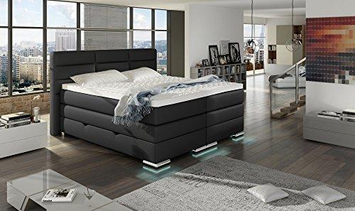 XXL ROMA Boxspringbett mit Bettkasten Designer Boxspring Bett LED Nachtschwarz Rechteck Design