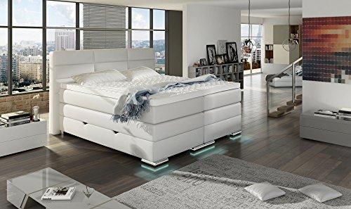 XXL ROMA Boxspringbett mit Bettkasten Designer Boxspring Bett LED Schneeweiss Rechteck Design Größe 180_x_200_cm