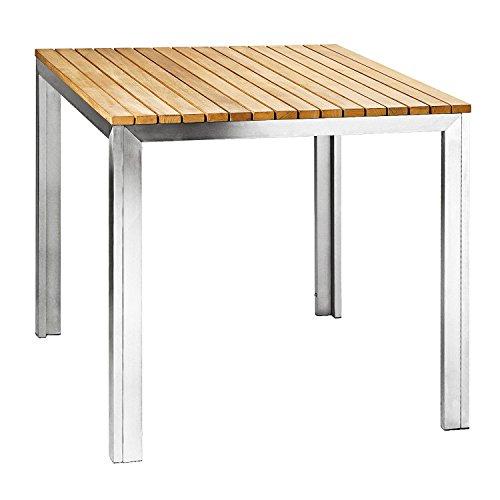 Zelsius - Edelstahl Gartentisch, Teak Holz Esstisch, 100 x 100 x 75 cm