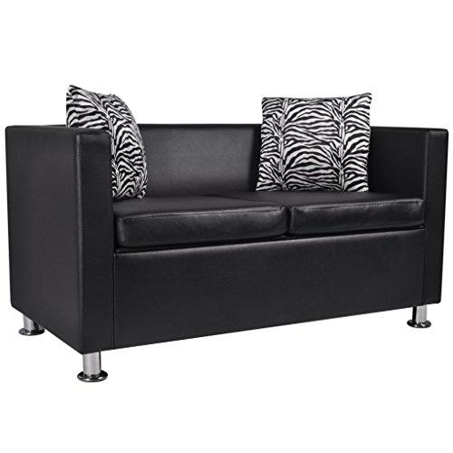 vidaXL Sofa 2-Sitzer Luxus-Kunstleder Loungesofa Couch Sitzmöbel + Kissen schwarz/weiß