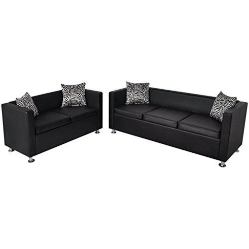 vidaXL Sofa Set 3-Sitzer + 2-Sitzer Kunstledersofa Loungesofa Couch+Kissen schwarz/weiß