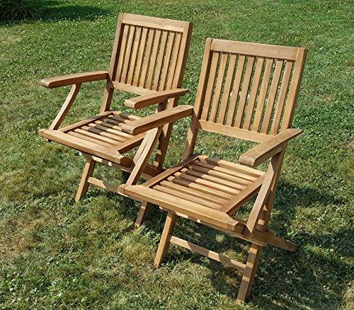 2Stück TEAK Design Klappsessel Gartensessel Gartenstuhl Sessel Holzsessel mit Armlehne Gartenmöbel Holz 'AVES' geölt von AS-S