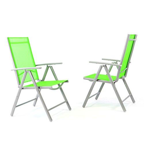 2er Set Klappstuhl Gartenstuhl Campingstuhl Liegestuhl in Komfortbreite – Sitzmöbel Garten Terrasse Balkon – klappbarer Stuhl aus Aluminium & Kunststoff - grün