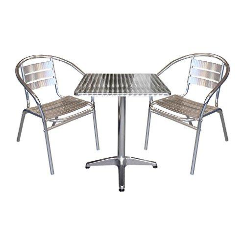 3tlg Gartenmöbel Balkonmöbel Terrassenmöbel Bistro Set 2x Aluminium Bistrostuhl Stapelstuhl + Bistrotisch Klapptisch 60x60cm Gartengarnitur Sitzgruppe Sitzgarnitur Bistromöbel